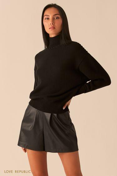 Черный свитер с плетеными швами 0450321808
