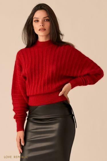 Мягкий свитер с ангорским волокном ягодного оттенка 0450326827