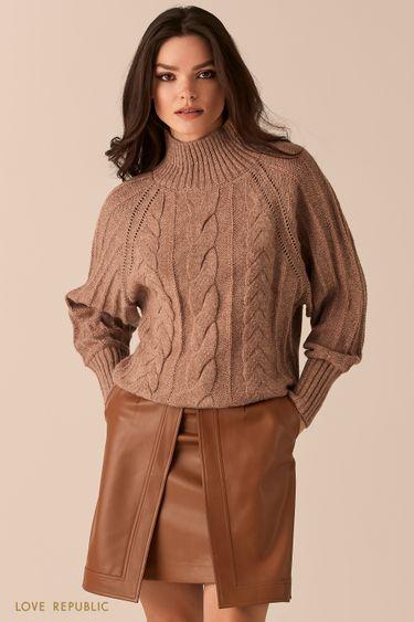 Бежевый свободный свитер фигурной вязки 0450331832