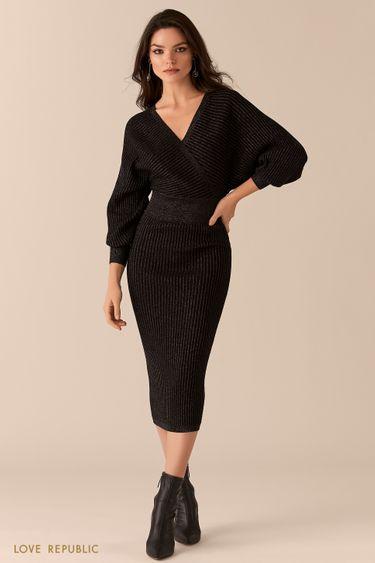 Черное платье в рубчик с лифом на запах и открытой спиной 0450332519
