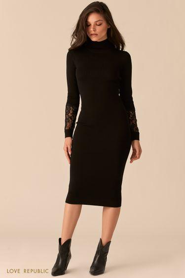 Черное трикотажное платье с кружевными вставками на рукавах 0450333520