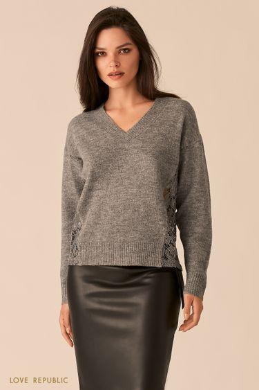 Трикотажный джемпер цвета темно-серый меланж с кружевными вставками по бокам 0450334833