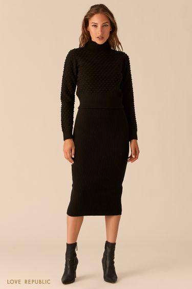 Трикотажная рельефная юбка миди 0450335209