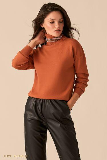 Объемный свитер с акцентным воротником-стойкой медного цвета 0450338838