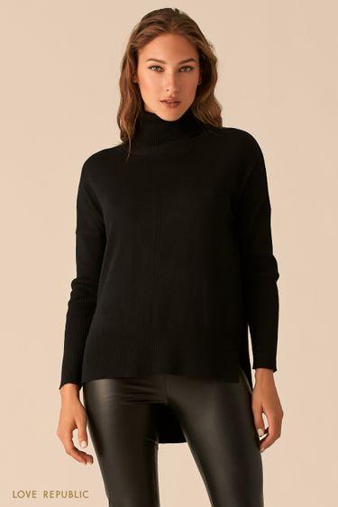 Черный свитер с удлиненной спинкой из гладкого трикотажа 0450343842