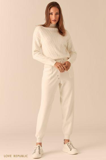 Трикотажные брюки-джоггеры на кулиске молочного оттенка 0450346709