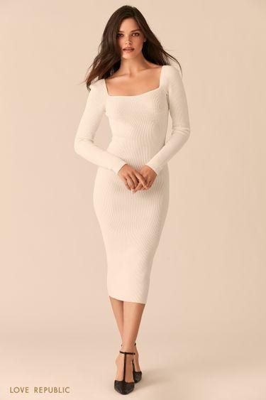 Белое облегающее платье миди с фигурным вырезом каре 0450358537