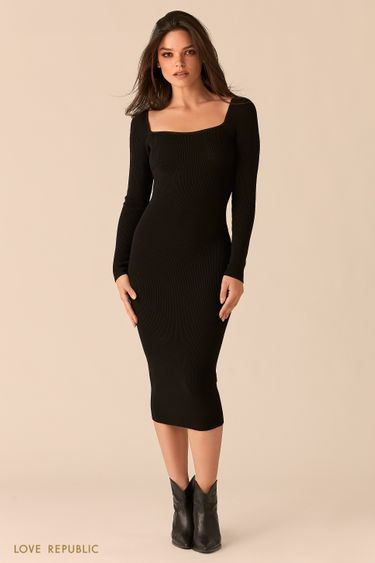 Черное облегающее платье миди с фигурным вырезом каре 0450358537