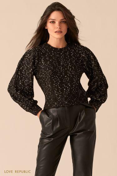 Черный свитер с объемными рукавами с нитью люрекса 0450366865