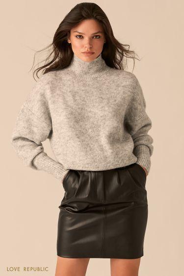 Вязаный oversize свитер с шерстью альпака цвета светло-серый меланж 0450369868