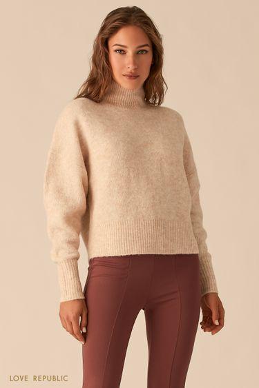 Вязаный oversize свитер с шерстью альпака цвета бежевый меланж 0450369868