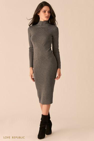 Трикотажное серое платье с декоративными заклепками 0450373540