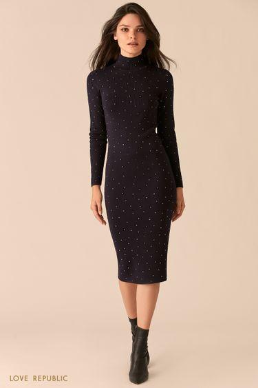 Трикотажное темно-синее платье с декоративными заклепками 0450373540