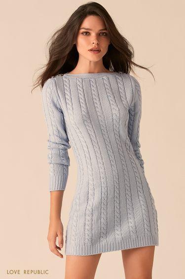 Вязаное голубое платье с вырезом лодочка 0450374551