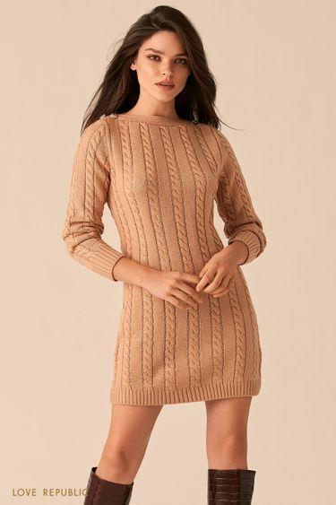 Вязаное бежевое платье с вырезом лодочка 0450374551