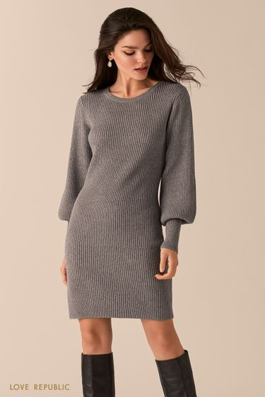 Платье-лапша с объемными рукавами 0450375552