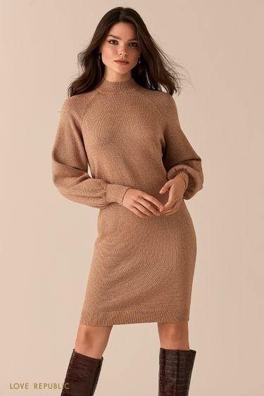Трикотажное платье-кокон с люрексом 0450376553