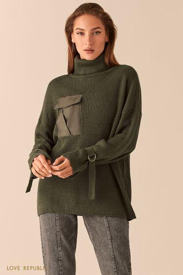 Oversize свитер цвета хаки в рубчик с ремешками на рукавах 0450382873