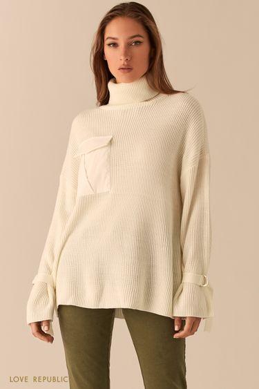 Oversize свитер молочного цвета в рубчик с ремешками на рукавах 0450382873