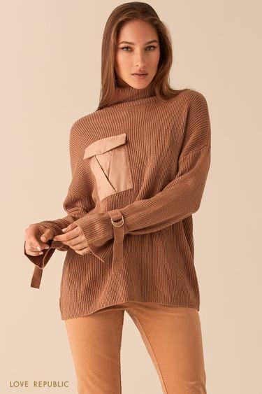 Oversize свитер песочного цвета в рубчик с ремешками на рукавах 0450382873