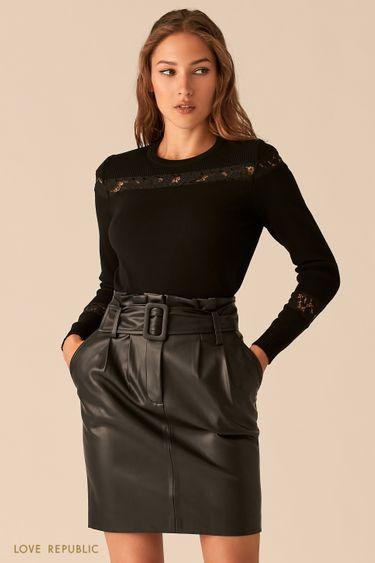 Романтичный черный джемпер с кружевными вставками 0450384850