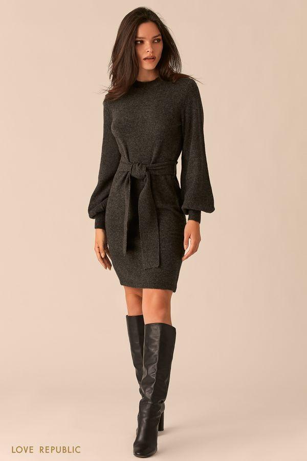 Мягкое приталенное платье с объемными рукавами 0450306505-61