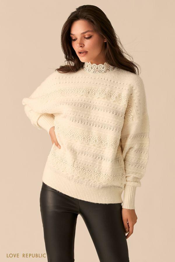 Ажурный свитер с кружевной отделкой 0450310814-60