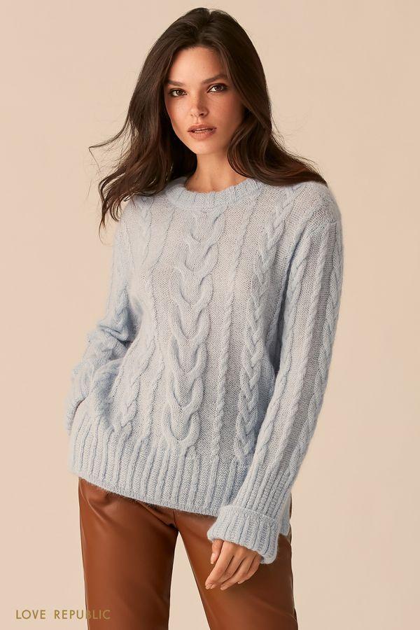 Мягкий свитер голубого цвета с косами из мохера 0450314818-41