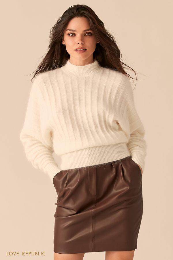 Мягкий свитер с ангорским волокном молочного оттенка 0450326827-60
