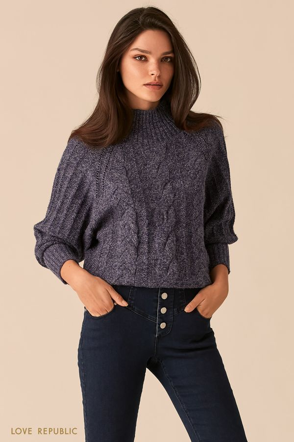 Темно-синий свободный свитер фигурной вязки 0450331832-47