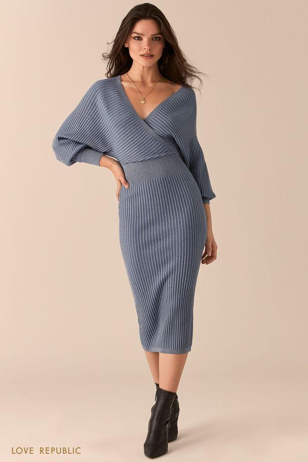 Голубое платье в рубчик с лифом на запах и открытой спиной 0450332519-41
