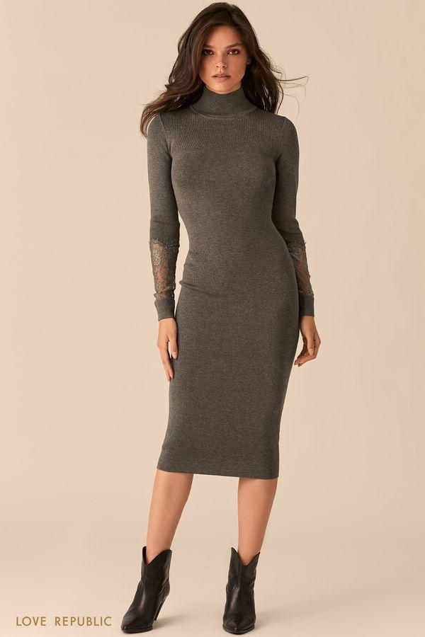 Черное трикотажное платье с кружевными вставками на рукавах 0450333520-50