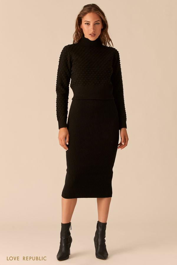 Трикотажная черная рельефная юбка миди 0450335209-50