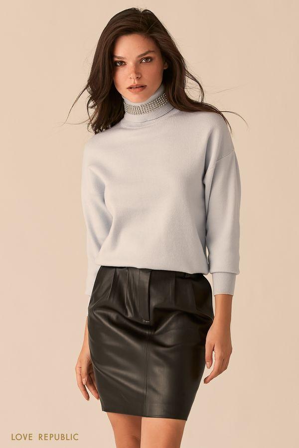 Объемный черный свитер с акцентным воротником-стойкой 0450338838-50