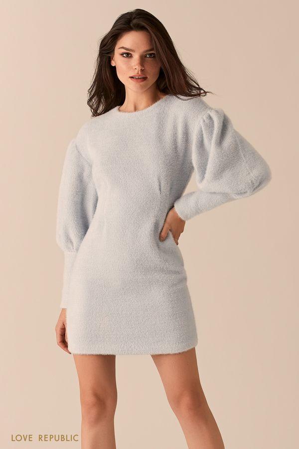 Пушистое платье приталенного силуэта с рукавами-буфами 0450340529-61