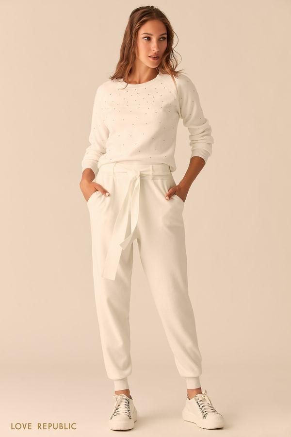 Трикотажные молочные брюки-джоггеры с поясом на талии 0450347711-60