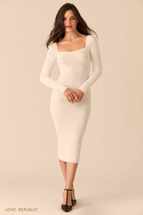 Белое облегающее платье миди с фигурным вырезом каре 0450358537-1