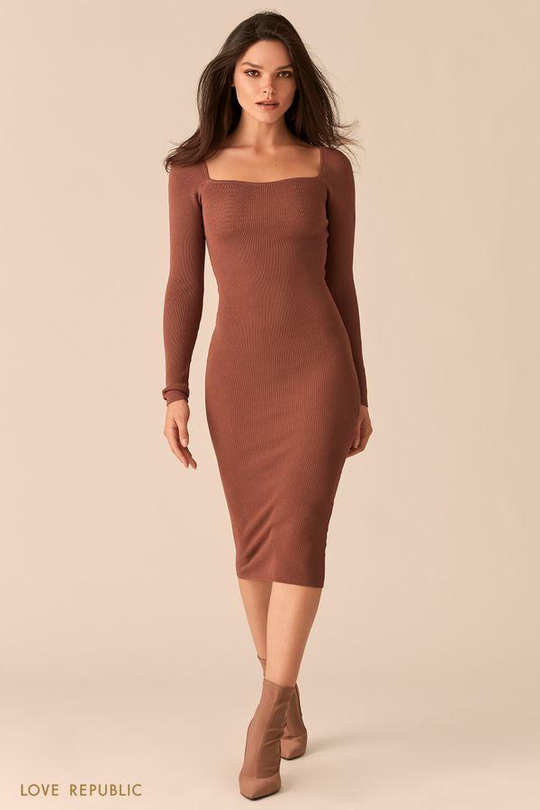 Облегающее платье миди с фигурным вырезом каре 0450358537-63