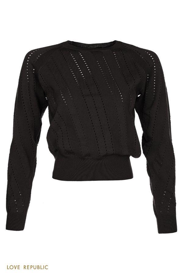 Джемпер черного цвета комбинированной фактуры с перфорацией 0450370869-50