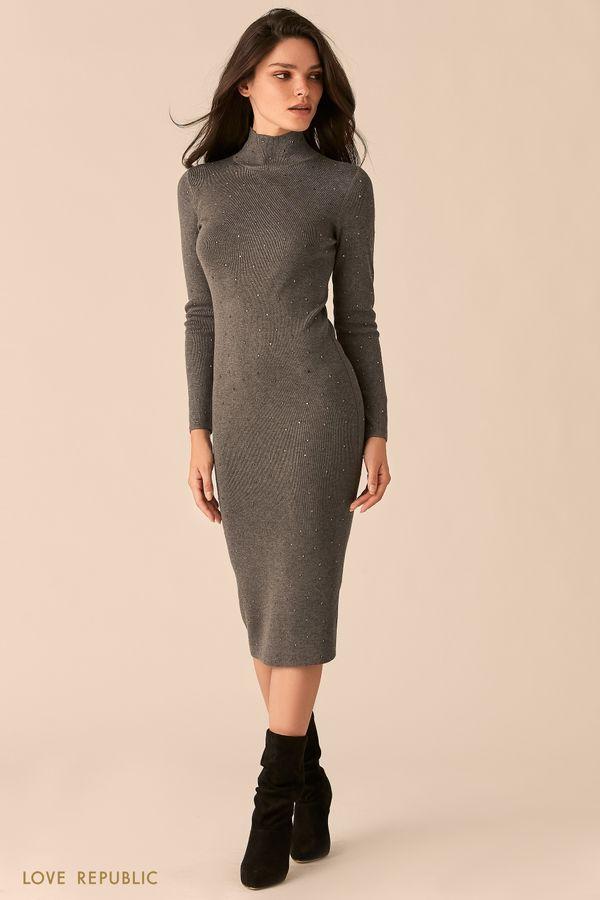 Трикотажное темно-синее платье с декоративными заклепками 0450373540-47