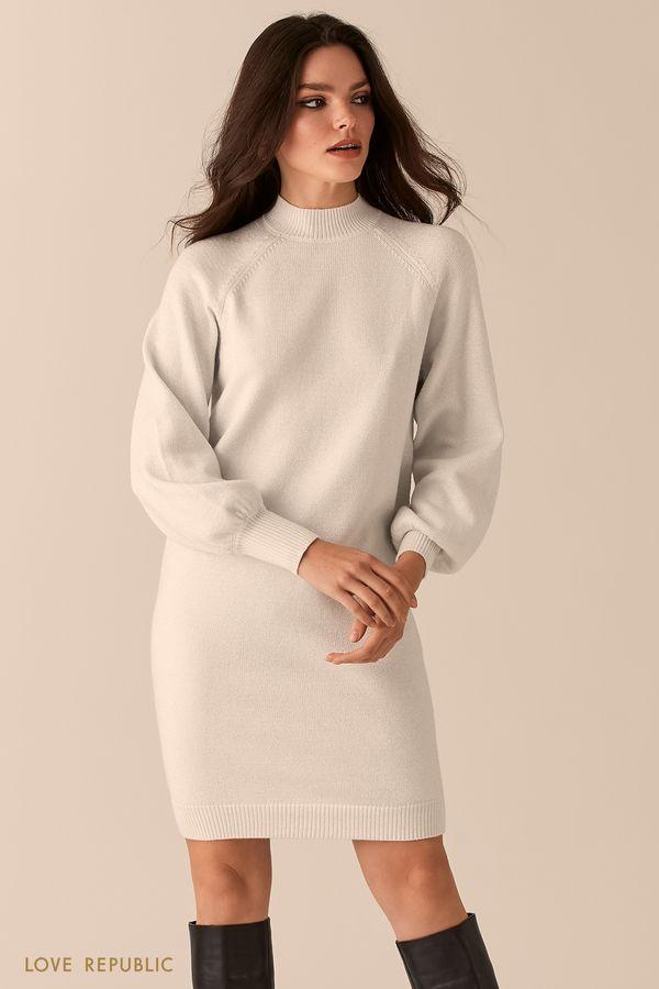 Трикотажное платье-кокон с люрексом 0450376553-50
