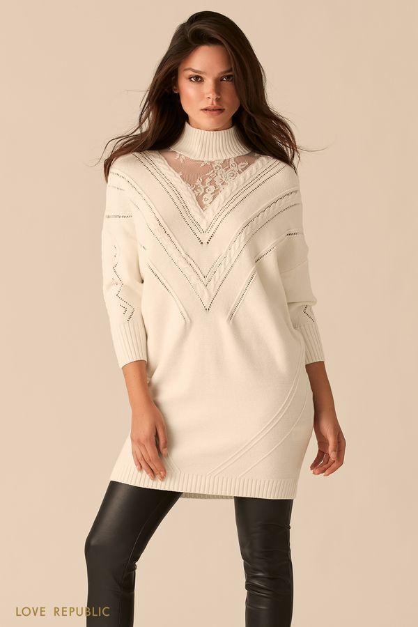 Мини-платье с кружевным декольте 0450377554-60