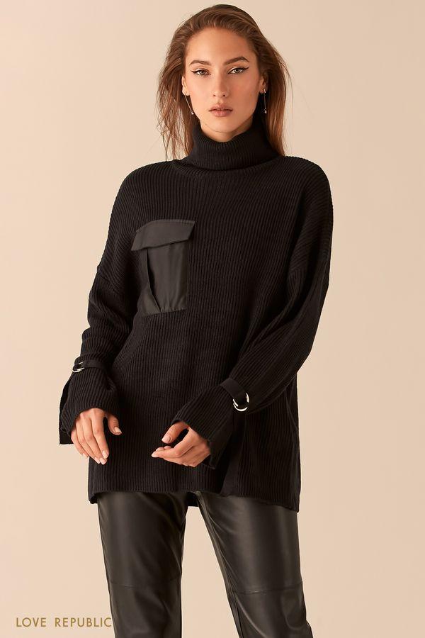 Oversize свитер черного цвета в рубчик с ремешками на рукавах 0450382873-50