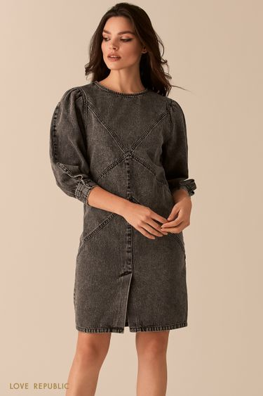Прямое платье из серого денима с акцентными швами 0450401512