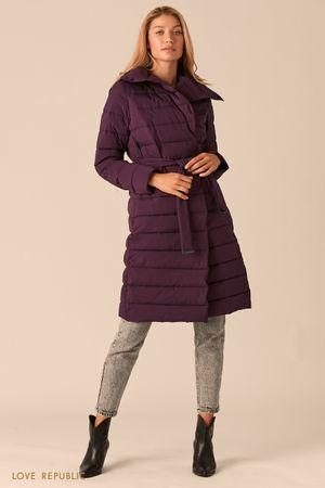 Стеганое пальто с регулируемым отложным воротником сливового оттенка фото