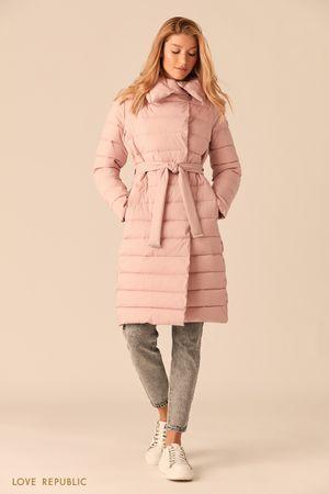 Стеганое пальто с регулируемым отложным воротником