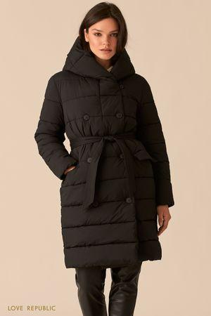 Стеганое двубортное пальто черного цвета с капюшоном