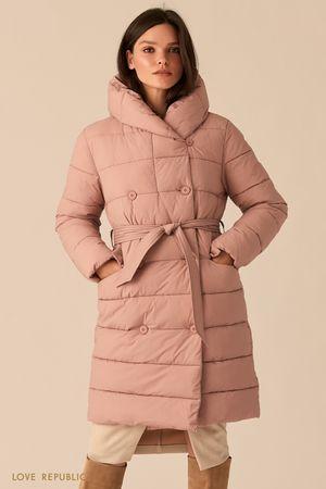 Стеганое двубортное пальто с капюшоном