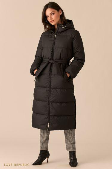 Стеганое черное пальто-пуховик с поясом на талии 0450501101