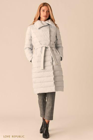 Голубое стеганое пальто с регулируемым отложным воротником 0450510110